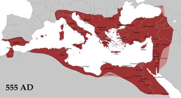 Cesarstwo Bizantyjskie największy zasięg terytorialny osiągnęło w 555 roku pod wodzą Justyniana I Wielkiego