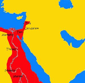Imperium kuszyckie w 700 roku p.n.e., u szczytu swojej potęgi