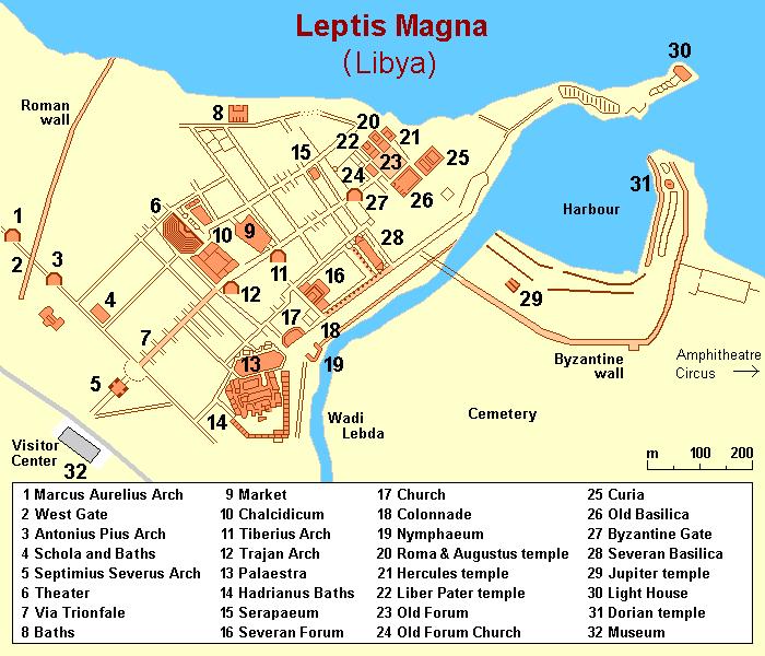 Mapa miasta Leptis Magna