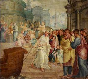 Malowidło Lamberta Lombarda ukazujące, jak Claudia Quinta, ubrana jak westalka, ciągnie statek z posągiem Kybele