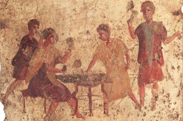 Fresk rzymski ukazujący graczy w tawernie