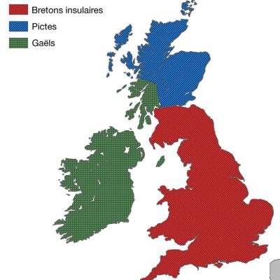 Mapa ukazująca tereny Brytów, Piktów i Gaelowie