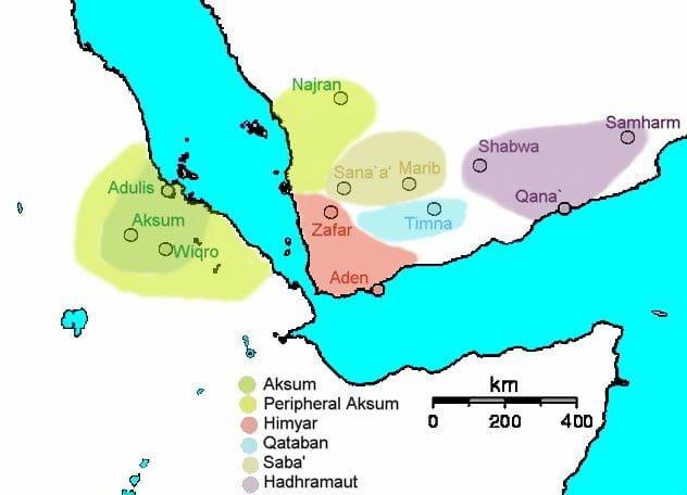 Ulokowanie miast w południowo-zachodniej części Półwyspu Arabskiego (230 n.e.)
