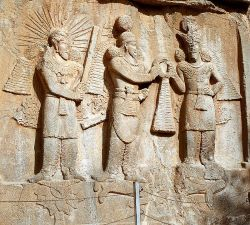Bas-relief depicting Mithra, Szapura II and Ormuzda