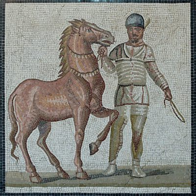 Mosaic from the 3rd century CE showing a coachman with a horse