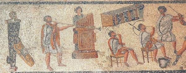 Floor mosaic from II century CE depicting musicians.