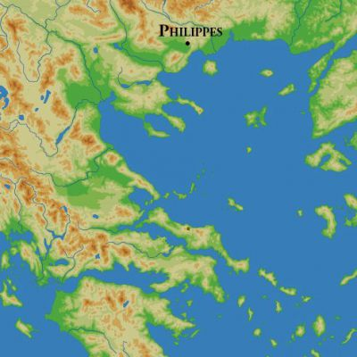 Location of the battle of Philippi.