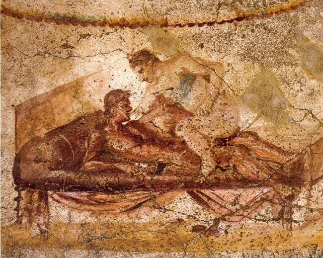 Wall painting founded in a brothel (Pompeii)