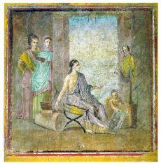 Pompejański malarz z pomalowaną statuą