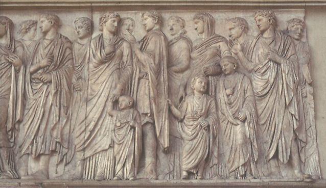 Fragment reliefu przedstawiającego procesję rodziny Augusta