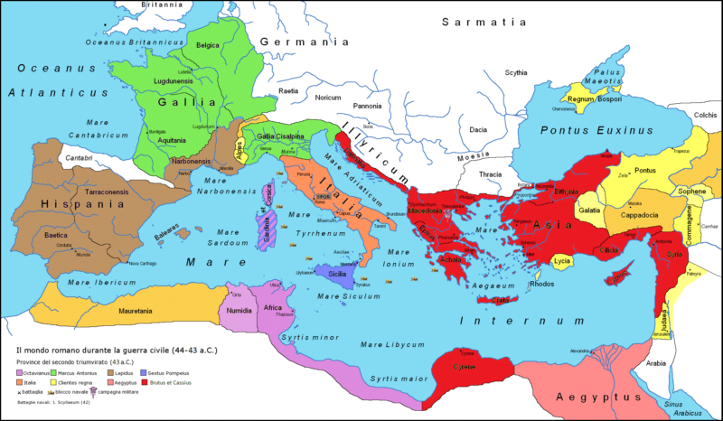 Territories of the Roman Republic owned by triumvirs and their opponents in 43 BCE