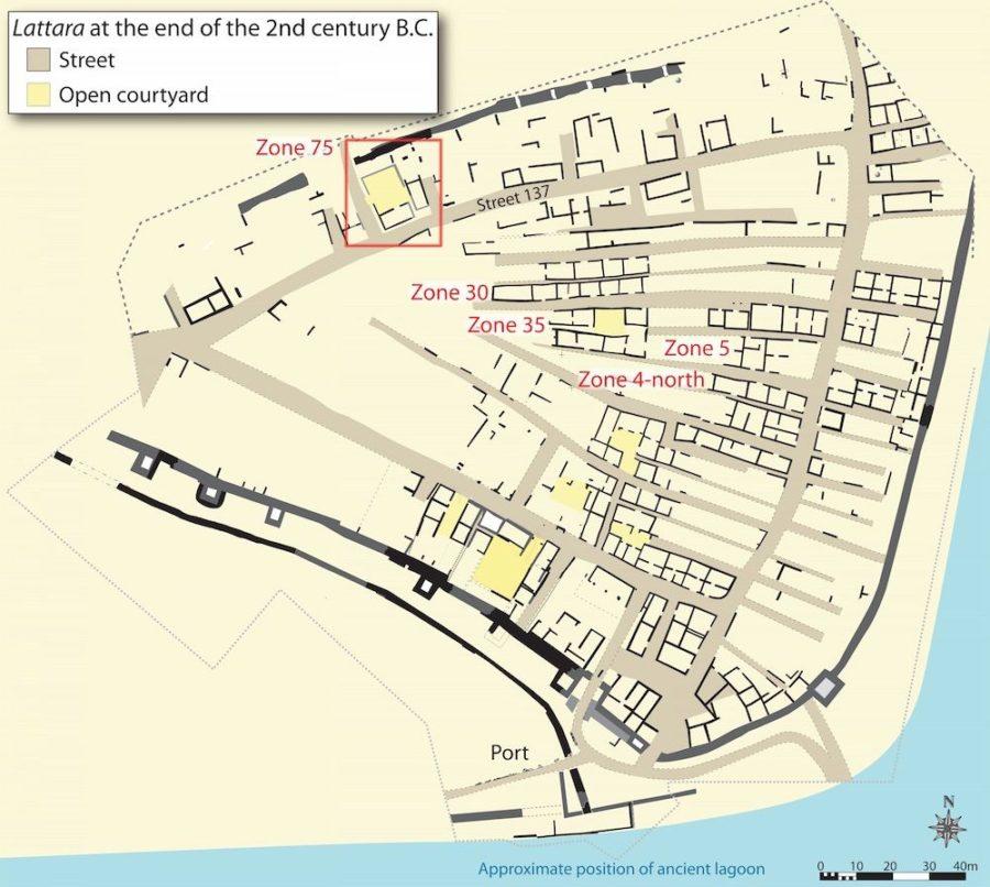 Plan miasta Lattara pod koniec II wieku