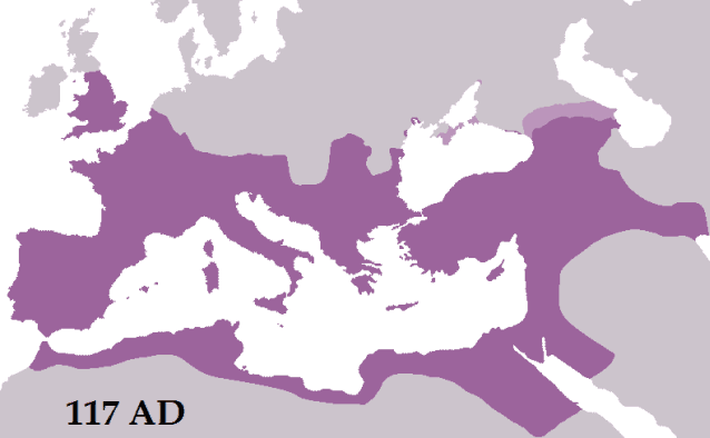 Roman Empire in its prime in 117 CE during the reign of Trajan