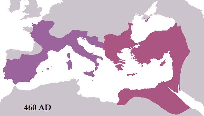 Mapa ukazująca Cesarstwo Zachodnie i Wschodnie w 460 roku n.e.