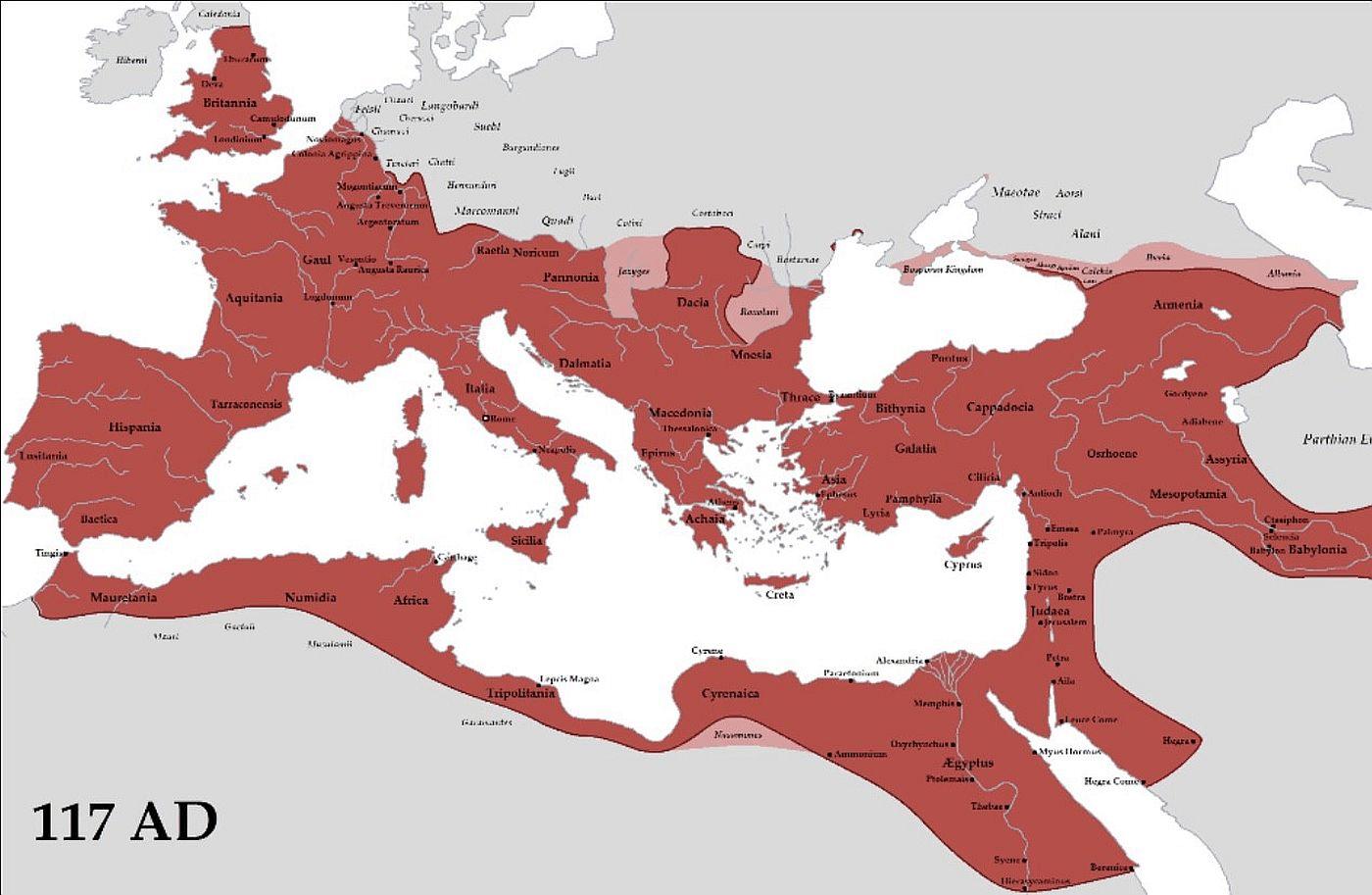 Mapa Imperium Rzymskiego po podboju Nabatei