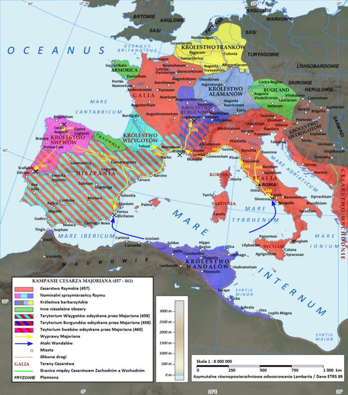 Cesarstwo zachodniorzymskie za Majoriana w roku 460 n.e.