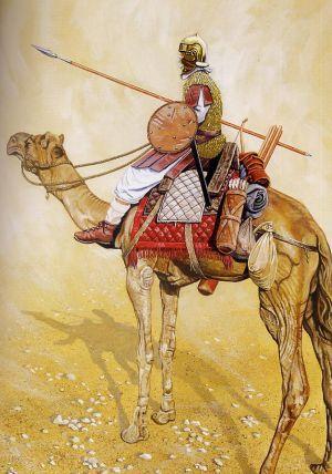 Ilustracja ukazująca jak mógł wyglądać rzymski jeździec wielbłądzi z II wieku n.e.