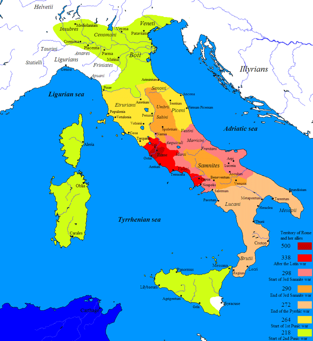Map showing the Roman expansion on the Apennine Peninsula in the years 400-264 BCE