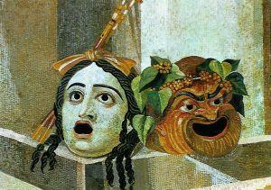 Mozaika ukazująca maskę tragiczną i komediową