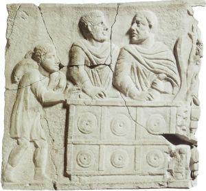 Roman banker during the transaction