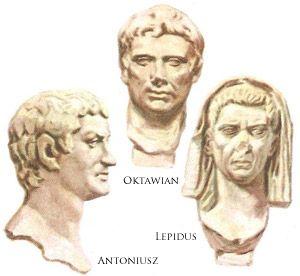 Marek Antoniusz, Marek Lepidus i Gajusz Oktawian zawarli drugi triumwirat