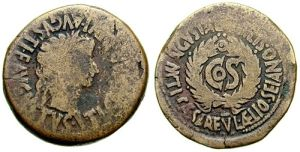 Rzymski As przedstawiający Tyberiusza
