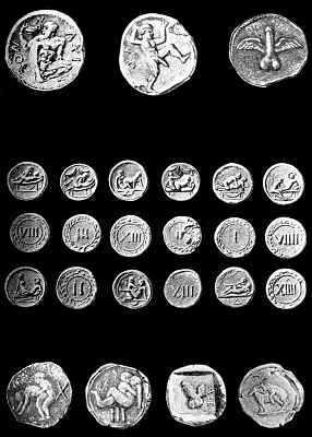 Typowe tessery spintryjskie pochodzące ze znalezisk w Pompejach