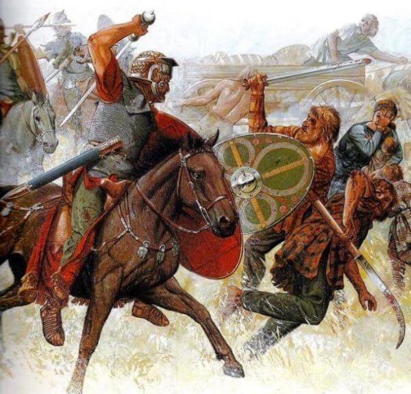 Ilustracja ukazująca atakującego rzymskiego kawalerzystę