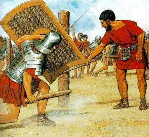 Legionary exercises with wooden weapon and wicker shield