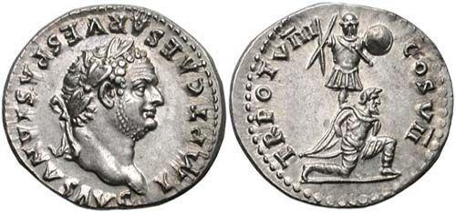 Rzymski denar przedstawiający Tytusa