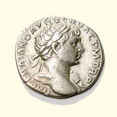Roman denarius depicting the emperor Trajan
