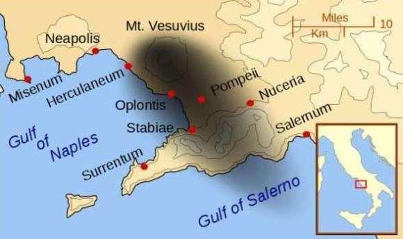 Zasięg wybuchu Wezuwiusza