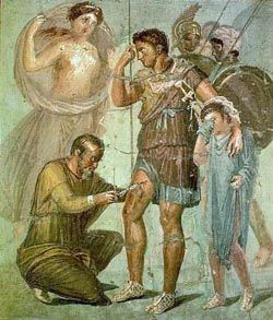 Pompeian mosaic depicting wounded Aeneas with his son Askanis