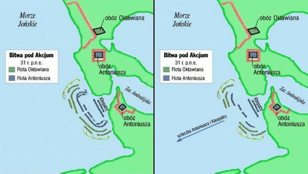 Plan sytuacyjny bitwy pod Akcjum i jej przebieg