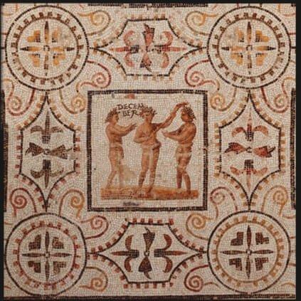Detal z mozaiki z III/IV wieku n.e. ukazujący trzech niewolników z pochodnią w czasie Saturnaliów