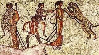 Damnatio ad bestias ukazane na mozaice