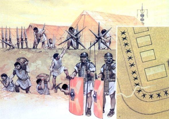 Ilustracja ukazująca budowę rzymskich umocnień obozu z pali, wiązanych w kształt jeża