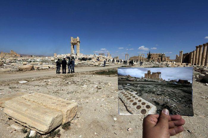 Panorama Palmyry wraz ze służbami bezpieczeństwa