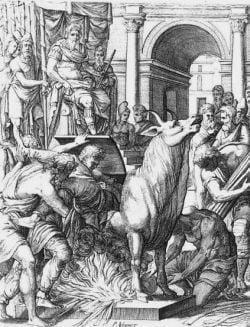 Scena ukazuje moment wepchnięcia Perilausa do miejsca kaźni, którego sam był pomysłodawcą