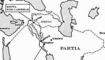 Mapa ukazująca miejsce bitwy pod Karrami