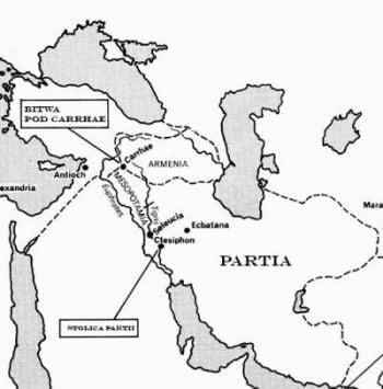 Mapa ukazująca państwo partyjskie w I wieku p.n.e.