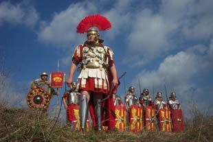 Centurion at the head of legionaries
