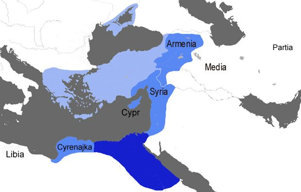 Map showing the lands under Antony, Cleopatra and her children in 34 BCE