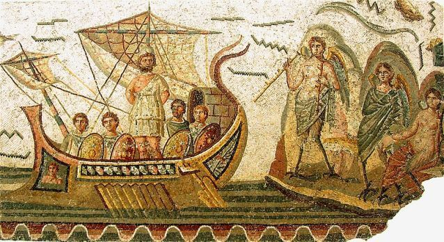 Mosaic showing the journey of Odysseus from Carthage