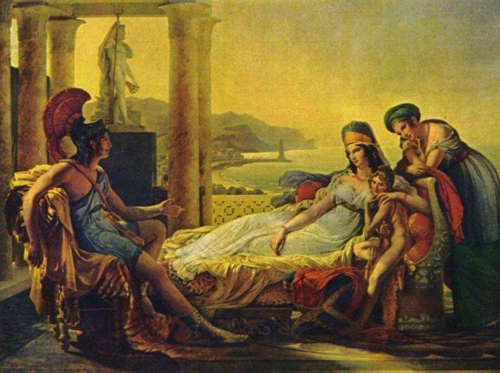 Eneasz mówi Dydonie o upadku Troi, Pierre-Narcisse Guérin