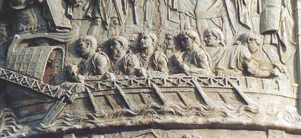 Fragment of the relief showing rowers on a Roman vessel