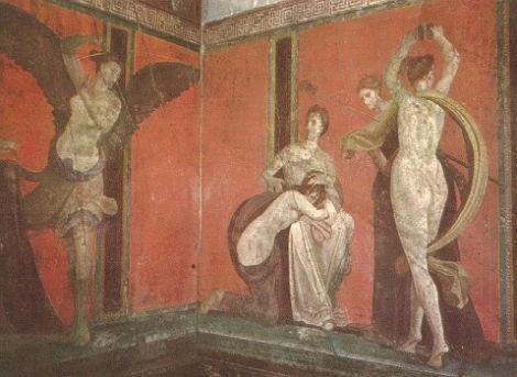 Fresk z Pompejów ukazujący erotyczne tańce