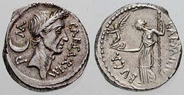 Rzymska moneta przedstawiająca Juliusza Cezara