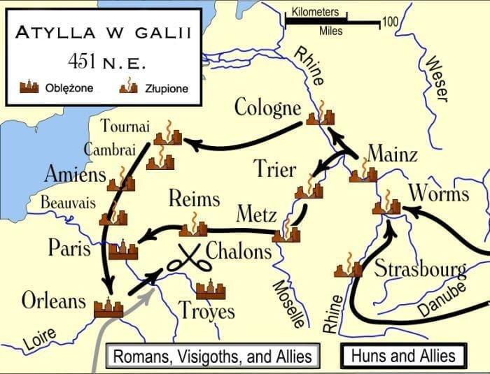 Mapa ukazuje kierunek marszu armii Atylli i jego sprzymierzeńców