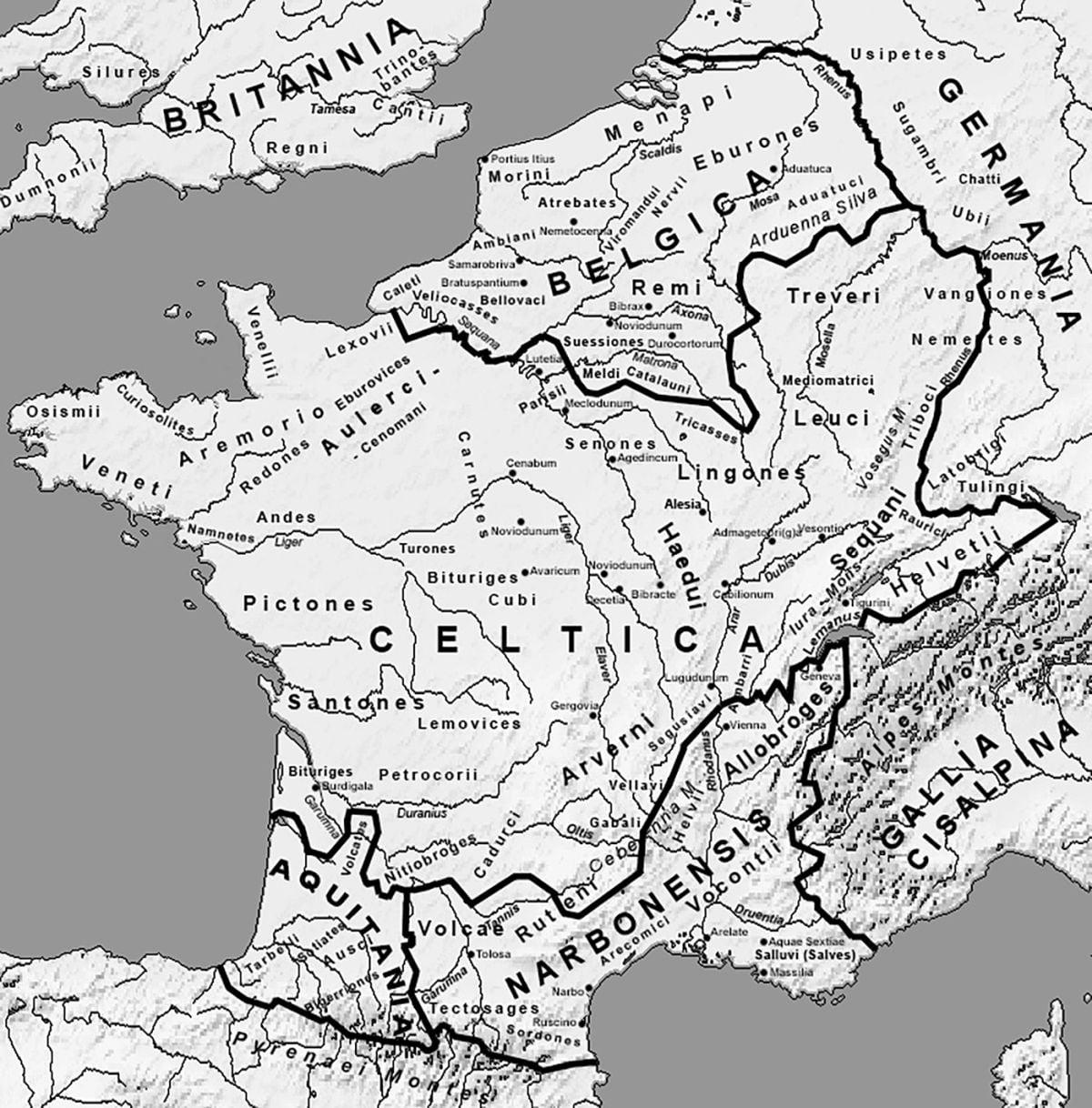Podział Galii z głównymi miastami około 58 roku p.n.e.